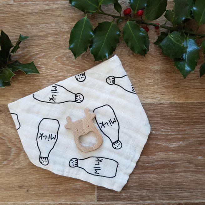 Coffret Noël bébé 2017 anneau de dentition renne et bavoir