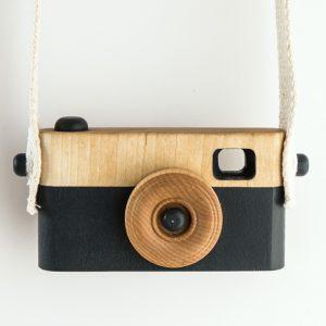 Appareil photo en bois bleu foncé