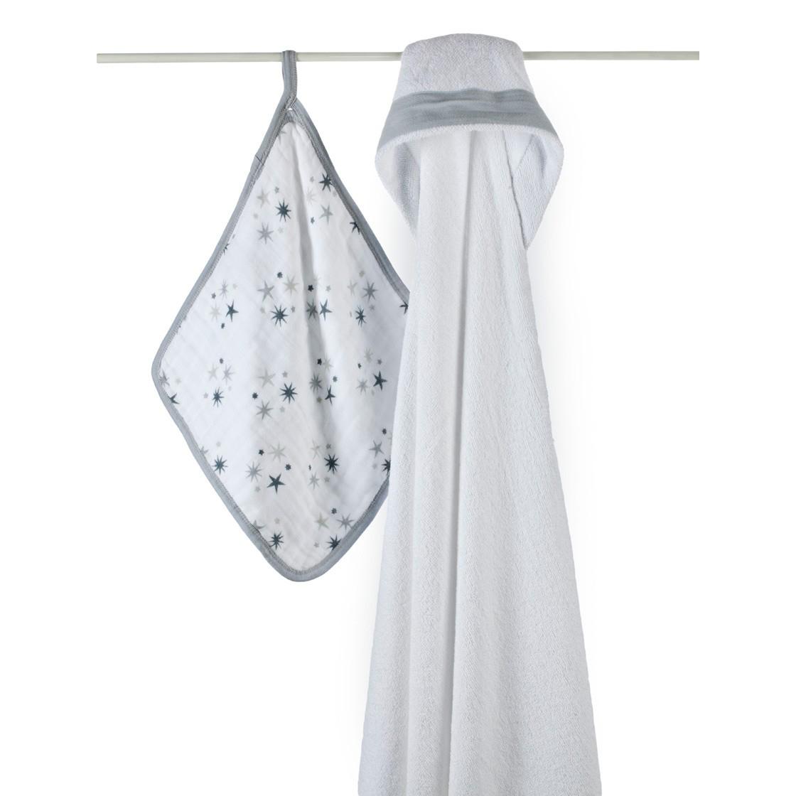 cape de bain et gant aden anais etoiles paquet. Black Bedroom Furniture Sets. Home Design Ideas