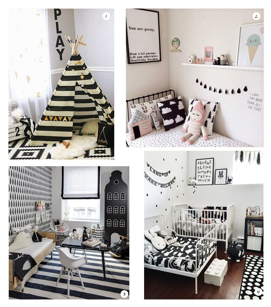 une chambre en noir et blanc paquet. Black Bedroom Furniture Sets. Home Design Ideas