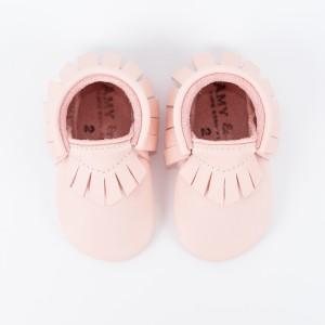 Mocassins bébé rose poudré