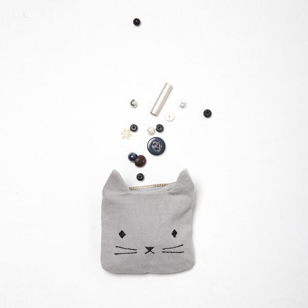 Bourse chaton grise adorable
