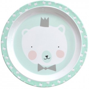 assiette plate menthe ours