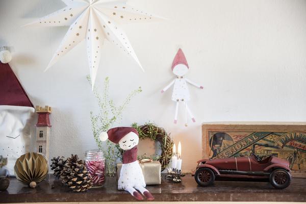 Petit Doudou Hochet Lutin de Noël Décor
