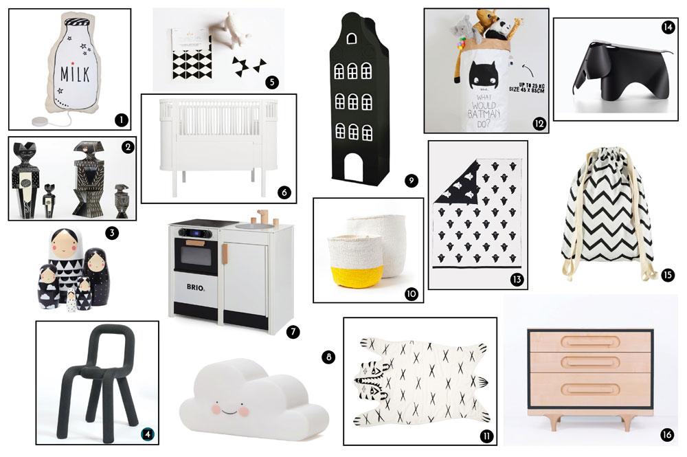chambre en noir et blanc : inspirations shopping